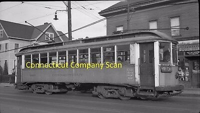 Connecticut Company Original B&w Trolley Negative Of Car 1160 New Haven In 1941