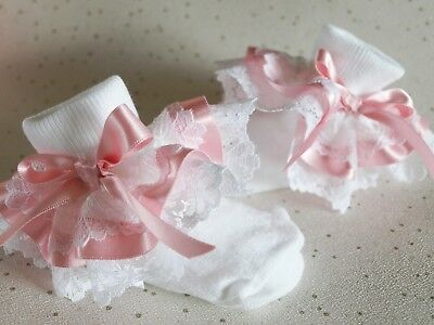 Baby Girls White Pink Christening Party Frilly Socks  ** HANDMADE ** 4 Sizes