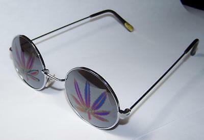 c40fd0ad59e5 2 MARIJUANA JL STYLE MIRROR REFLECTION POT LEAF SUNGLASSES round frame  glasses