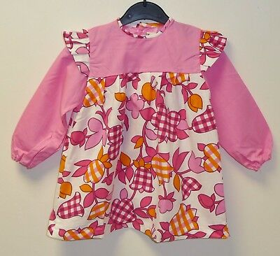 VINTAGE 1970's UNWORN GIRLS PINK & WHITE FLORAL PATTERNED DRESS AGE 2-3 YEARS