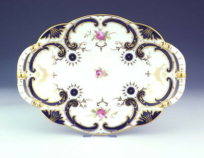 Antique Coalport Porcelain - Rose Decorated, Gilt & Cobalt Blue Glazed Bowl