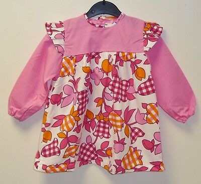 VINTAGE 1970's UNWORN GIRLS PINK & WHITE FLORAL PATTERNED DRESS AGE 3-4 YEARS