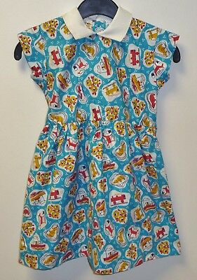 VINTAGE 1970's UNWORN GIRLS BLUE & WHITE TOY PRINT PATTERNED DRESS AGE 3-4 YEARS