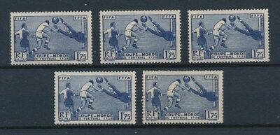 [92526] France 1938 Football 5x good stamp Very Fine MNH Value $200