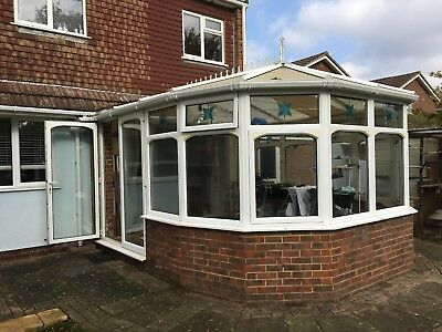 White UPVC Conservatory with double doors - Used