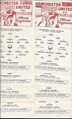 Set Of Manchester United Reserve Programmes 1966-7 All Single Sheets No Writing