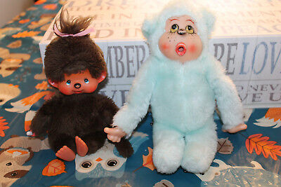 Monchhichi LOT OF 2 DOLLS BLUE AND BROWN VINTAGE