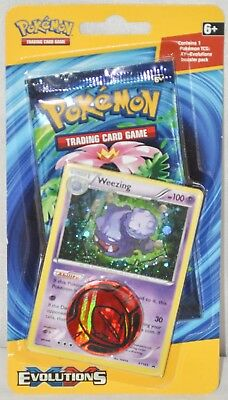 Pokémon XY Evolutions TCG Booster Pack with Weezing Promo Card & Coin, New