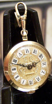 Antique Vintage Bucherer 60's Swiss Solid 18K Gold Chain Watch Great Dial