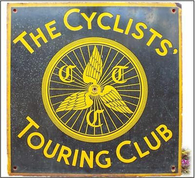 Antique  The Cyclists' Touring Club Metal Enamel Hotel/ Pub Sign Excellent order
