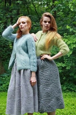 Two Vintage Mohair Cardigand & Hand Crocheted Skirts