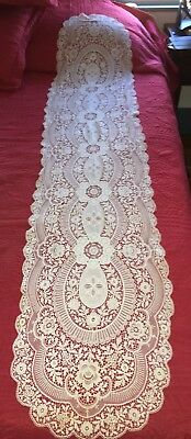"""Beautiful Delicate Antique White Schiffli Lace Long Table Runner 72"""" by 15"""""""