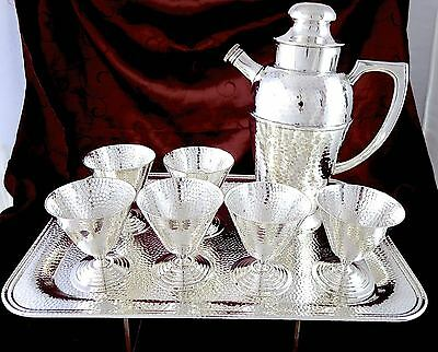 ART DECO CANADIAN Silverplate HAND HAMMERED 8pc COCKTAIL SHAKER SET 1930s