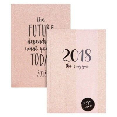 A6  2018 Week To View Glitter/Sparkle Pocket Appointment Diary/Planner Organiser
