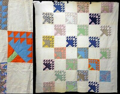 Vintage Maple Leaf Hand Stitched Feedsack Cotton Fabric Quilt Coverlet Bedspread
