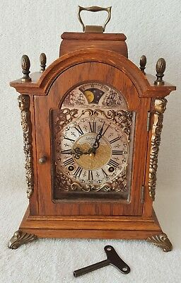 Warmink Mantel Clock Moon Dial Double Bell Strike 70s Nut Wood Dutch 26cm High