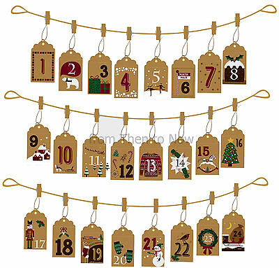 Vintage Hanging Bags Pockets Advent Calendar Garland Card Envelope Peg Christmas