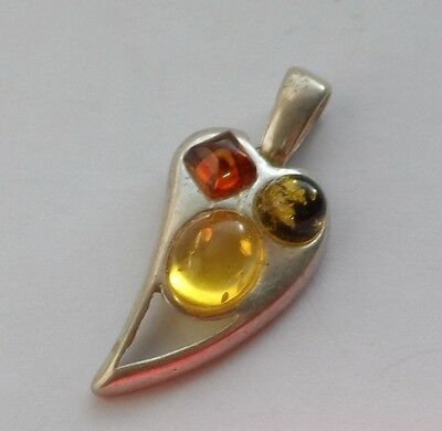VTG pendant with Russian original amber and silver 925 #8115