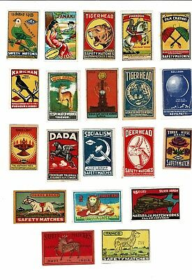 20 Old India c 1960s Matchbox labels depicting Horse Brand, various themes etc