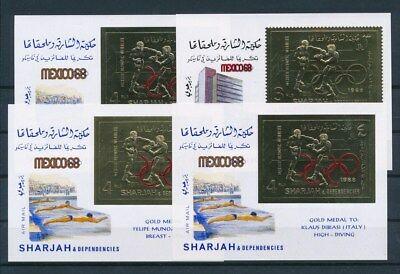 [G93234] Sharjah 1968 Olympics 4 good Gold stamps perf./imperf. Very Fine MNH