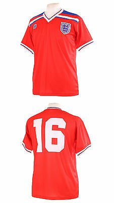 England 1982 World Cup Number 16 Robson Retro Red Away Football Shirt Xxl
