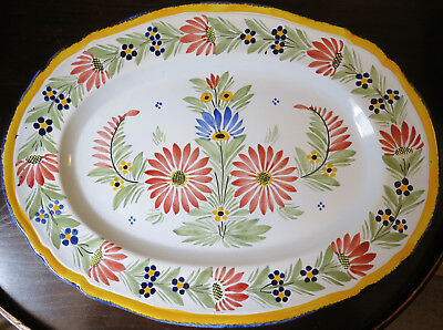 "Very Large (18"") Vintage HB Quimper Faience Serving Platter Plate"