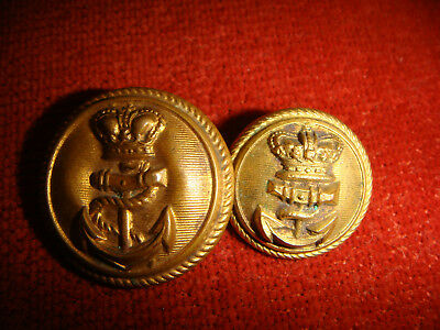2 Vintage Victorian Royal Navy Officers Buttons