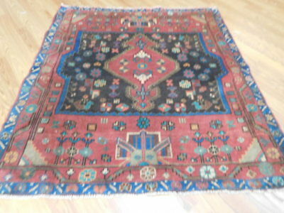 Ca1930 VGDY ANTIQUE PERSIAN KURDISH BIJAR VISS SERAPI 4.2x4.7 ESTATE SALE RUG