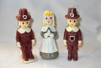 """Vintage  Thanksgiving Candles-Pilgrims 5 1/2""""  Female and Males-Unused"""