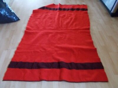 VINTAGE  Wool Blanket Hudson Bay Style FULL SIZE RED WITH A BLACK STRIPE