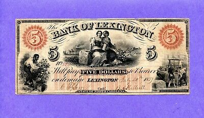 1860 $5 The Bank of Lexington, NORTH CAROLINA Note w/ SLAVES HIGH GRADE NOTE