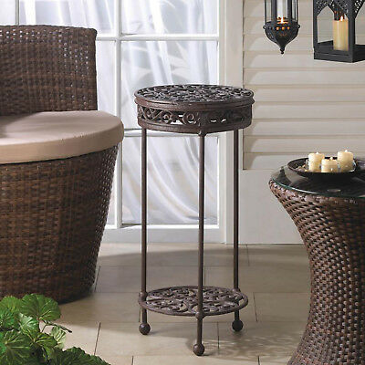 PLANT STAND: Round Cast Iron Potted Plant Holder Table NEW