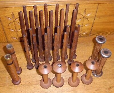 Assorted Lot Of Vintage Wood Textile Thread Spools / Bobbins - 2 Are WH Eastwood