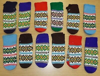 12 PAIRS OF VINTAGE 1970's LADIES KNITTED NORDIC MITTS ASSORTED SIZES & COLOURS