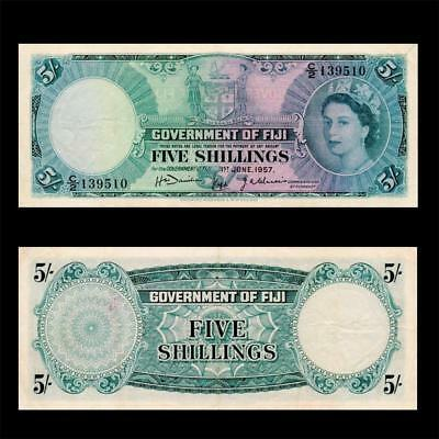 1957 British Fiji (Qe-Ii),  5 Shillings  » Cv $350 « ~First Issue~