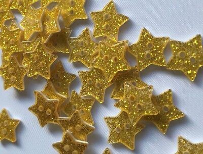 Shiny Red or Gold Stars, Green Christmas Tree Sewing Buttons x 20 - Xmas Crafts