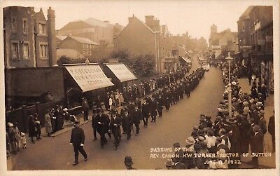 Surrey Sutton Funeral Procession Of Rev Hw Turner June 17 1922 Rector Photo Card