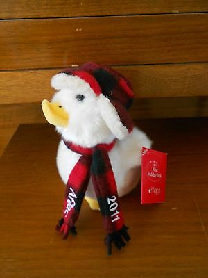 """Macys Plush Aflac Holiday Talking Duck 6"""" From 2011 Plaid Scarf Cap"""