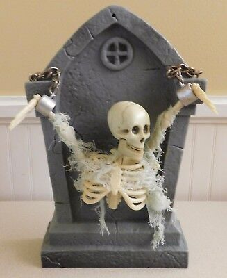 Vintage Gemmy Animated Tomb Stone With Skeleton Tabletop