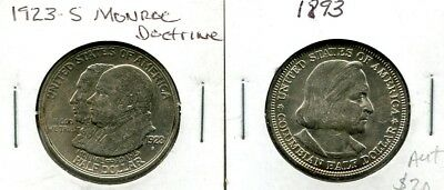 Docs 2 Older USA Commemorative Halves - Columbian 1893 - Monroe Doctrine 1923 S!