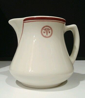 """USA US Army Vintage Medical Military Ceramic Pitcher by Sterling / 4.5"""" Height"""