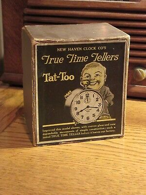 """NEW HAVEN """"TRUE TIME TELLERS"""" ALARM CLOCK - BOX & INSERT ONLY- SCARCE  1920s"""
