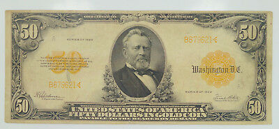 1922 Series $50 Fifty Dollar Gold Coin Certificate Ulysses Grant F-1200 K31