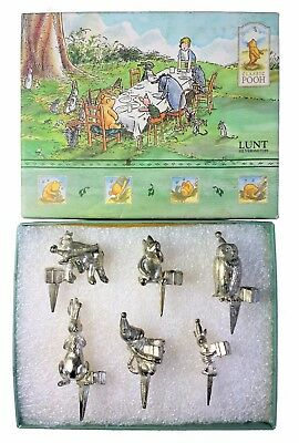 Disney Winnie the Pooh Lunt Silversmiths Silver Plate Birthday Candle Holder Set