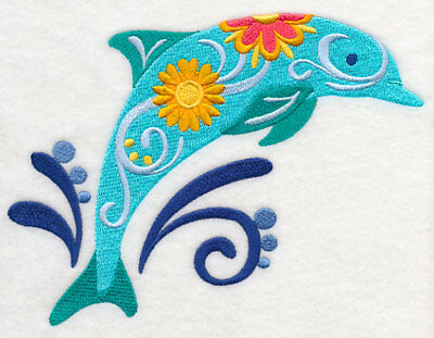 Embroidered Long-Sleeved T-Shirt - Flower Power Dolphin M5083 Sizes S - XXL