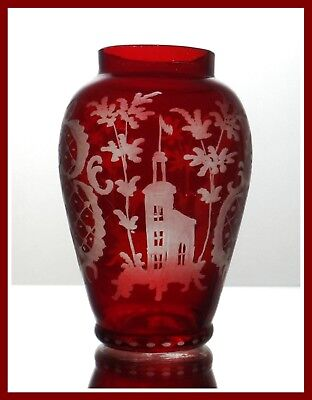 RUBY RED Posy Vase Flashed & CUT TO CLEAR CRYSTAL Bohemian CASTLE & DEER Czech