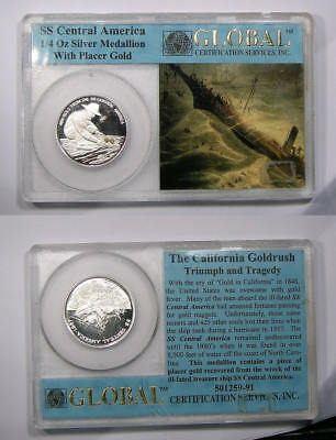 SS Republic quarter oz silver proof with placer gold INV#302B-12