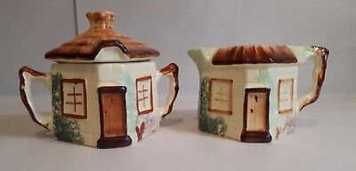 1950s Paramount Pottery Co, Staffordshire Country Cottage Milk Jug & Sugar Bowl