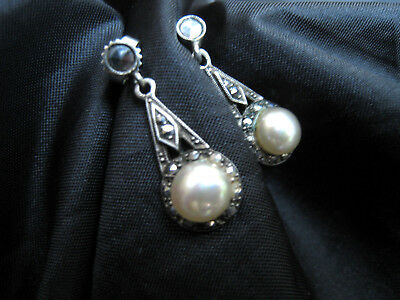 Sterling silver Art Deco style marcasite pearl stud and droplet earrings