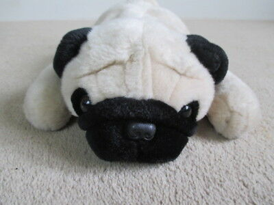 Ty - The Beanie Buddies Collection - 2001 - Brown & Black Lying Pug - 14""